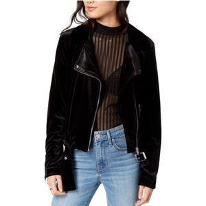 Brand new black velvet moto jacket
